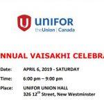 Unifor Vaisakhi 2019 Celebration